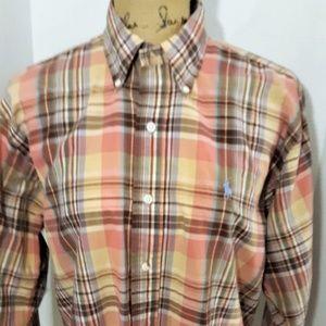 Ralph Lauren Preppy Plaid Cotton Shirt 15-1/2 34